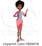 Clipart Of A Happy Black Business Woman Presenting Royalty Free Vector Illustration