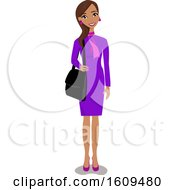 Clipart of a Happy Hispanic Business Woman - Royalty Free Vector Illustration by peachidesigns #COLLC1609480-0137
