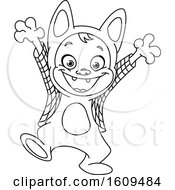 Clipart Of A Black And White Kid In A Werewolf Halloween Costume Royalty Free Vector Illustration