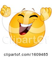Clipart Of A Yellow Smiley Emoji Cheering Royalty Free Vector Illustration