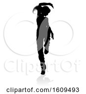 Street Dance Dancer Silhouette With A Reflection Or Shadow On A White Background