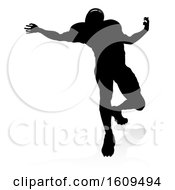 Poster, Art Print Of American Football Player Silhouette With A Reflection Or Shadow On A White Background