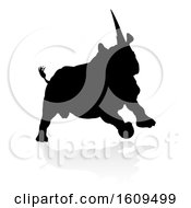 Silhouetted Rhino With A Reflection Or Shadow On A White Background
