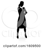 Clipart Of A Silhouetted Business Woman With A Shadow On A White Background Royalty Free Vector Illustration