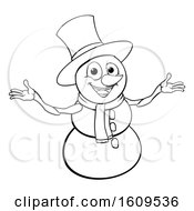 Clipart Of A Lineart Christmas Snowman Wearing A Scarf And A Top Hat Royalty Free Vector Illustration