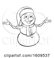 Clipart Of A Lineart Christmas Snowman Wearing A Scarf And A Santa Hat Royalty Free Vector Illustration