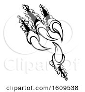 Clipart Of Black And White Sharp Claws Shredding Through Material Royalty Free Vector Illustration