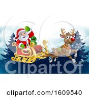 Santa Sleigh Reindeer Christmas Cartoon Background