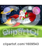 Clipart Of A Merry Christmas Under A Reindeer Flying With Santa In A Rocket Over In Outer Space Royalty Free Vector Illustration