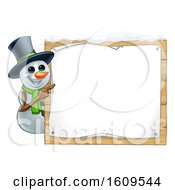Christmas Snowman Wearing A Scarf And A Top Hat By A Blank Sign