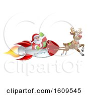 Reindeer Flying With Santa In A Rocket