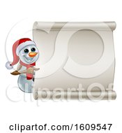 Clipart Of A Christmas Snowman Wearing A Scarf And A Santa Hat By A Blank Scroll Royalty Free Vector Illustration