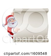 Cartoon Christmas Santa Claus Pointing Around A Blank Scroll Sign
