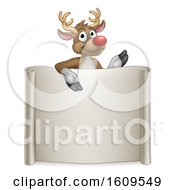 Red Nosed Christmas Reindeer Over A Blank Scroll Sign