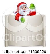 Clipart Of A Cartoon Christmas Santa Claus Waving Over A Blank Scroll Sign Royalty Free Vector Illustration