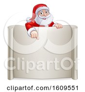 Cartoon Christmas Santa Claus Pointing Down Over A Blank Scroll Sign