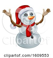 Clipart Of A Welcoming Christmas Snowman Wearing A Scarf And A Santa Hat Royalty Free Vector Illustration