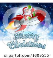 Merry Christmas Santa Claus Rocket Cartoon