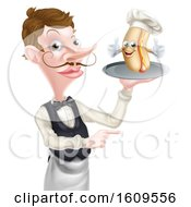 White Male Waiter Holding A Hot Dog Chef On A Platter And Pointing