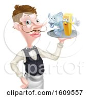 Clipart Of A White Male Waiter Pointing And Holding Fish And A Chips On A Tray Royalty Free Vector Illustration