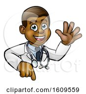 Poster, Art Print Of Cartoon Friendly Black Male Doctor Waving Over A Sign