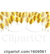 Clipart Of A 3d Border Of Gold Party Balloons Royalty Free Vector Illustration