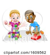 Clipart Of A White Girl And Black Boy Playing With Blocks And A Toy Car Royalty Free Vector Illustration
