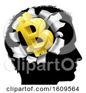 Poster, Art Print Of Black Silhouetted Mans Head With A 3d Gold Bitcoin Symbol Breaking Out Thinking About Money