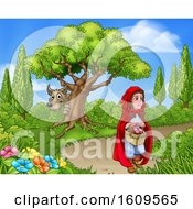 Clipart Of A Wolf Hiding Behind A Tree And Stalking Little Red Riding Hood Royalty Free Vector Illustration