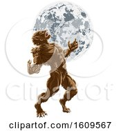 Poster, Art Print Of Full Moon Werewolf Scary Horror Monster