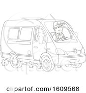 Clipart Of A Lineart Man Driving A Van Royalty Free Vector Illustration
