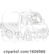 Clipart Of A Lineart Man Driving A Truck Royalty Free Vector Illustration
