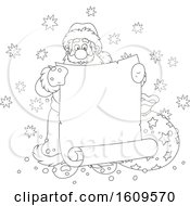 Christmas Clipart Of A Black And White Santa Claus Holding A Blank Scroll Banner Royalty Free Vector Illustration