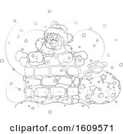 Christmas Clipart Of A Black And White Santa Claus Climbing Down A Chimney In The Snow Royalty Free Vector Illustration