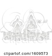 Lineart Fairy Tale Log House With Winter Snow