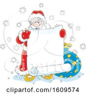Christmas Clipart Of Santa Claus Holding A Blank Scroll Banner Royalty Free Vector Illustration