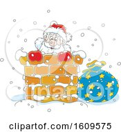 Christmas Clipart Of Santa Claus Climbing Down A Chimney In The Snow Royalty Free Vector Illustration