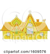 Clipart Of A Fairy Tale Log House Royalty Free Vector Illustration