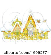 Clipart Of A Fairy Tale Log House With Winter Snow Royalty Free Vector Illustration