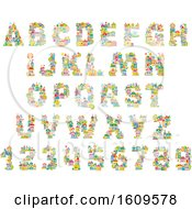 Clipart Of Capital Alphabet Letters And Numbers Made Of Buildings Royalty Free Vector Illustration