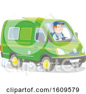 Clipart Of A Caucasian Man Driving A Van Royalty Free Vector Illustration