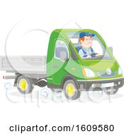 Clipart Of A Caucasian Man Driving A Truck Royalty Free Vector Illustration