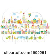 Clipart Of A Colorful Village Royalty Free Vector Illustration