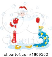 Christmas Clipart Of Santa Holding A Blank Scroll Banner Royalty Free Vector Illustration