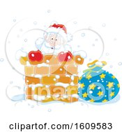 Christmas Clipart Of Santa Climbing Down A Chimney In The Snow Royalty Free Vector Illustration