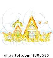 Fairy Tale Log House With Snow