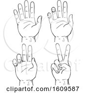 Sketched Progression Of A Human Hand Doing A Two Finger V Or Victory Sign Or Peace Sign