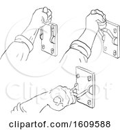 Poster, Art Print Of Sketched Progression Sequence Of A Hand Pulling Down A Vintage Frankenstein Light Or Throw Switch