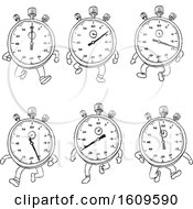 Poster, Art Print Of Sketched Sequence Or Cycle Of A Stopwatch Cartoon Character Running