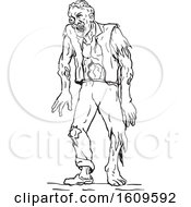 Sketched Black And White Walking Zombie